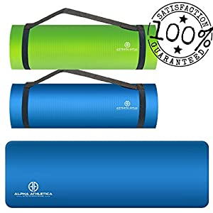 Yoga Mat - Double Sided All-Purpose Extra Thick Non-Slip Anti-Tear Premium Exercise, Gym, and Pilates Mat with Velcro Carrying Strap - Best for Men & Women - Perfect for Home Workout