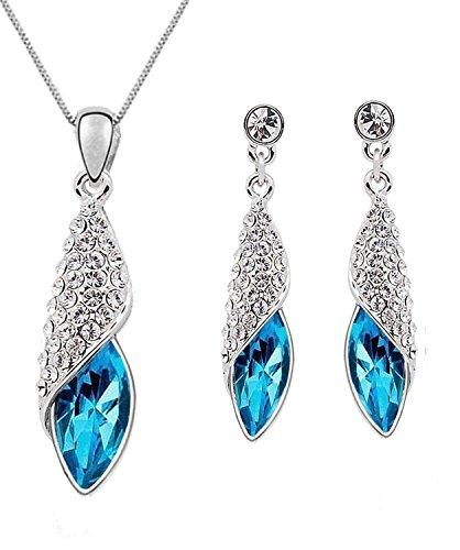 crunchy fashion Blue Eterno Crystal Pendant Set For Women