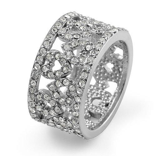 Round Eternity Cz Wedding Anniversary Heart Band Ring Sterling Silver 925 Cubic Zirconia Sz6