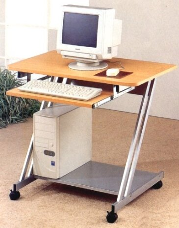 Buy Low Price Comfortable Aluminum Finish Computer Desk with Wood Top (B000OSA3UA)