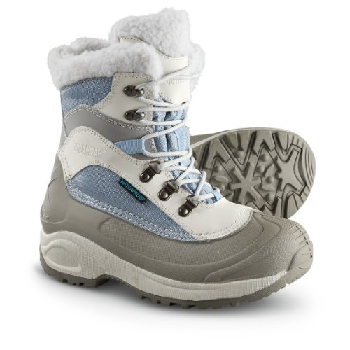 Women's Guide Gear Waterproof 400 gram Thinsulate Ultra Insulation Snow Ridge Boots Blue / White, BLUE/WHITE, 6M