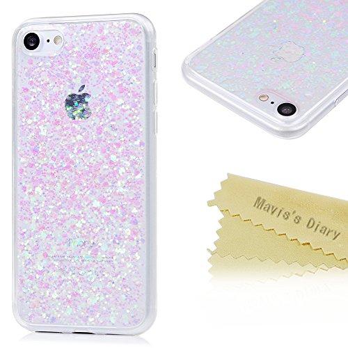maviss-diary-iphone-747-zoll-tpu-softcase-mit-rosa-glitter-blatt-tasche-hullen-schutzhulle-scratch-d