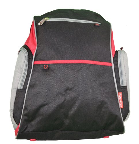 Fisher Price Deluxe Sporty Diaper Backpack - Black/Gray with Red Trim