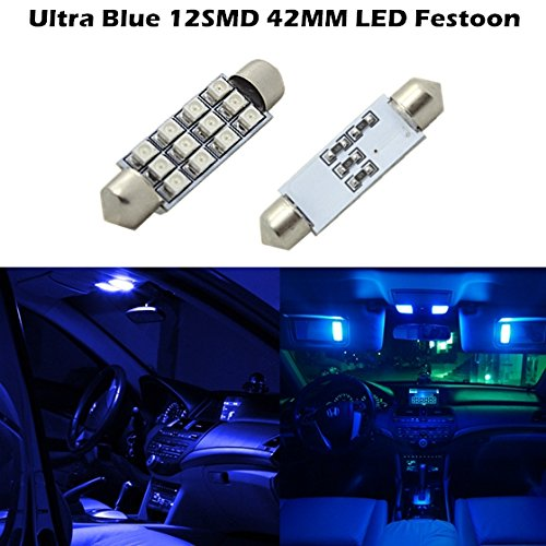 Partsam For 2006 2013 Ford Expedition 2X Super Blue 42Mm Festoon Bulbs 3528 Dome Map Cargo Light 211-2