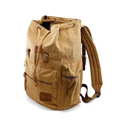 GEARONIC TM Men's Outdoor Vintage Canvas Military Shoulder Travel Hiking Camping School Bag Backpack Fit for Notebook Macbook 11 , 13, 15 inch Air Pro Laptop 3
