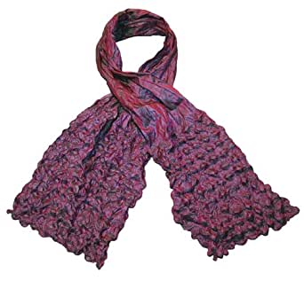 Poly Silk Crushed Effect Scarf With Popcorn Bumps - Pink/Aqua