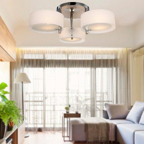 ALFRED® Lampadario moderno in acrilico in cromo con 3 lampadine , Flush Mount per studio / ufficio, camera da letto, Soggiorno (con finitura cromata)