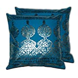 House This Darbaar Foli Print Blue Set Of 2 Cushion Covers- 16 X 16