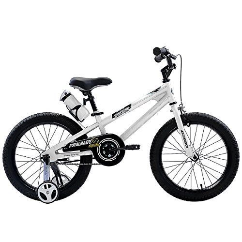 RoyalBaby BMX Freestyle Kids Bike, Boy's Bikes and Girl's Bikes with training wheels, Gifts for children, 18 inch wheels, White (18 Inch Wheels compare prices)