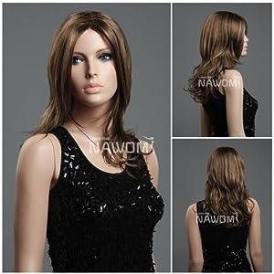(WG-ZL394-12H124) Long Wave Hair Wig, Chestnut brown color.