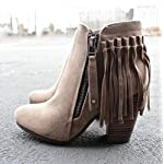 Febelle Fashionable Women Scrub Bigh-heeled Boots High Heel boots Women Hot Vintage Khaki & 38