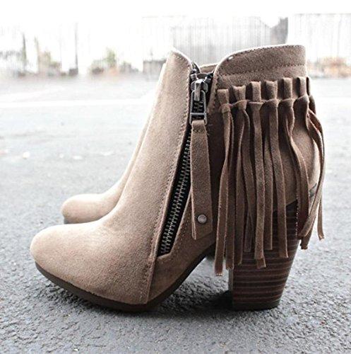 Febelle Fashionable Women Scrub Bigh-heeled Boots High Heel boots Women Hot Vintage Khaki & 38 0