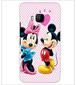 PrintDhaba Mickey and Minnie D-2356 Back Case Cover for HTC ONE M9S (Multi-Coloured)