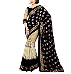 khanak export Women's Georgette Saree(KE_05_Multi-Coloured_Free Size)