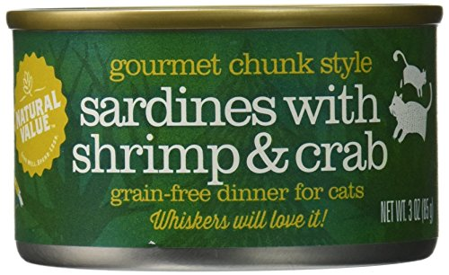 Natural Value Chunk Style Sardines with Shrimp & Crab Cat Food, 3 Ounce Cans (Pack of 24) (Can Crab compare prices)