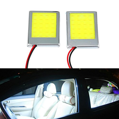 Happy Hours® Super Bright 2 Pcs 9W White Color LED Car Interior Dome Lights Bulb Panel Tail Box Light Car Reading Light Plate Light Door Lights image