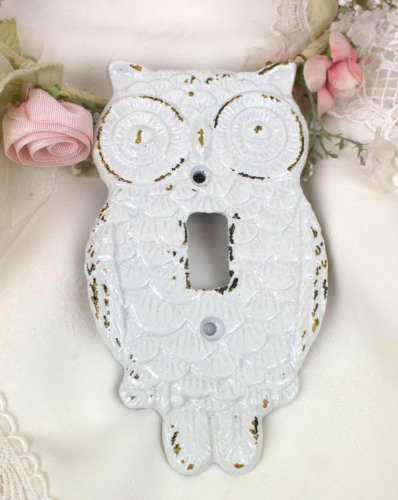 Gloss White Cast Iron Hoot OWL Single Switch Cover Plate (Floral Wall Switch Covers compare prices)