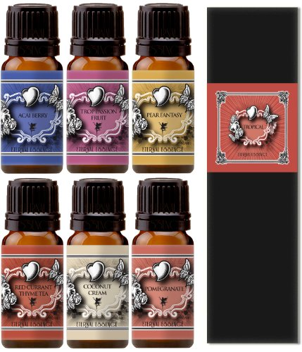 Premium Grade Fragrance Oil - Eternal 6 Pack Of Essence Gift Set - Red Current Thyme Tea, Tropical Passion Fruit, Coconut Cream, Pear Fantasy, Pomegranate, Acai Berry - 10 Ml - Scented Oil