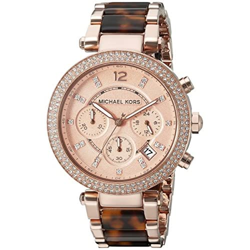 Michael Kors Women's Quartz Watch with Black Dial Chronograph Display and Silver Stainless Steel Plated MK5538