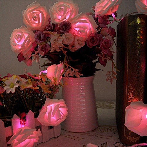 ZJchao 20 LED Rose Battery Operated String Lights Perfect Decoration for Valentine's Day, Christmas, Party and other Celebration Occasions Pink