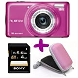 Fujifilm T400 Pink Digital Camera + 4GB + Hard Carry Case Bundle (Fuji Finepix 16MP, 10x Optical Zoom) 3 inch LCD Screen