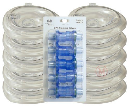 MCR Medical Supply MCRTM-AC PVC Training CPR Pocket Resuscitator Face Masks and Valves, Adult Collapsible (Pack of 10) (Ac Masks compare prices)