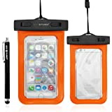"""ECO-FUSED Premium Universal Waterproof Carrying Case for Smartphones with IPX8 Certification for 100% Protection Against Water, Snow, Dirt and Dust - Use with Devices up to 4.7"""" Screen Size; 5.3 x 2.8 Inch - For Apple Iphone 6, 5s, 5, 4S, 4, 3G, 3GS - Samsung Galaxy S6, S6 edge, S5, S4, S4 Active, S4 Mini, S3, S3 Mini, S2; HTC, Motorola, LG, Nokia, Sony and Many More - Also Perfectly Suited as a Wallet, Dry Bag or Pouch for GPS, MP3 Player, Passport, Money, Credit Cards etc"""