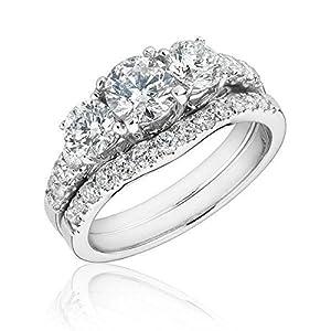 Certified Three-Stone Round Diamond Bridal Set 1ctw - Size 7