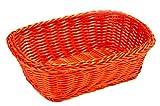Tablecraft HM1185X Handwoven Polycord Rectangular Basket, Orange