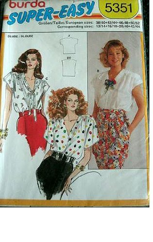 MISSES BLOUSE SIZES 12/14-16/18-20/40-42/44 BURDA SUPER EASY PATTERN 5351 by Burda