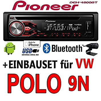 VW Polo 9N - Pioneer DEH-4800BT - CD/MP3/USB Bluetooth Autoradio - Einbauset