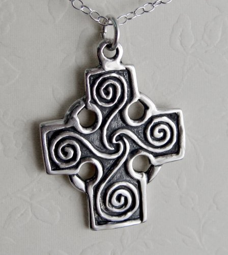 A Beautiful Cross with the Spirals of Life in Sterling Silver