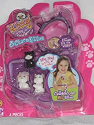 Kitty in My Pocket 3 Charm Kitties with Sparkling Dark Purple Bracelet