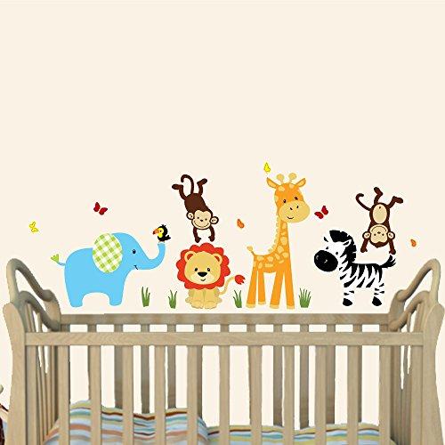 Mini Color Me Happy, Jungle Animal Wall Decals, Jungle Stickers, Elephant, Lion, Giraffe, Monkey