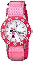 "Disney Girls' W000025 ""Time Teacher"" Stainless Steel Watch with Pink Nylon Band by Disney"