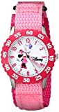 Disney Girls' W000025 Time Teacher Stainless Steel Watch with Pink Nylon Band