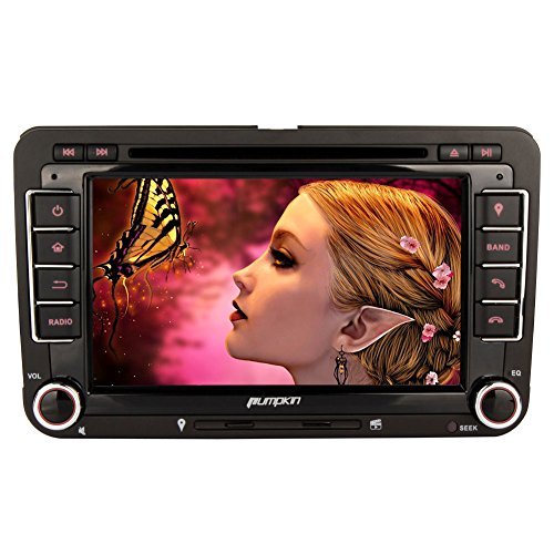 PUMPKIN-2-Din-Autoradio-Naviceiver-fr-Jetta-Golf-Passat-Polo-Beetle-Touran-mit-7-Zoll-Touch-Screen-GPS-Navigation-Bluetooth-Freisprechfunktion-CanBus-DVD-CD-Player-Lenkradsteurung