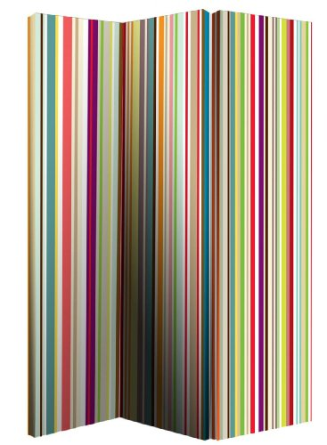 Arthouse Room Divider Screen 3 Panels 2 Fold Bright Stripe 150cm x 120cm x 2.5cm (008107)