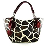 Burgundy Large Vicky Giraffe Print Faux Leather Satchel Bag Handbag Purse