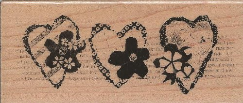 Heart Trio Montage Wood Mounted Rubber Stamp (N141)