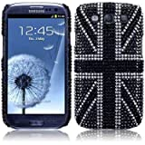 Samsung Galaxy S3 i9300 Black Union Jack Diamante Case / Cover / Shell / Shield PART OF THE QUBITS ACCESSORIES RANGEby Qubits