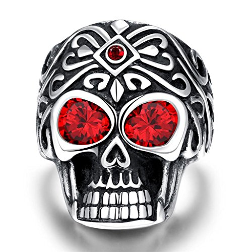 Skull Silver Ring with Red Garnet Stones on the Eyes and Forehead