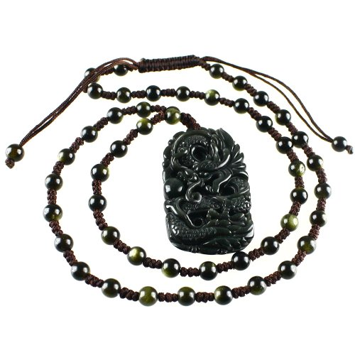 Handmade Carved Obsidian Dragon Pendant Adjustable Necklace 19-20 Inches