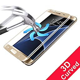 Galaxy S7 Edge Screen Protector,(Full Screen Coverage)Ultra Tempered Glass Anti-Scratch Shield Max Clarity Touch Accuracy Screen Protector by StarryBay (s7 edge-golden)