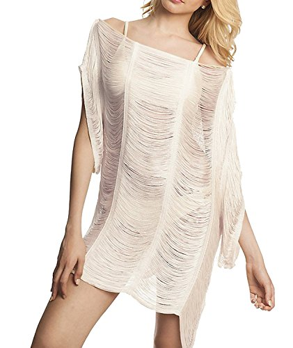 1453861009725 MG Collection Fashion Beige See-Through String Swimsuit Cover Up / Beach Top