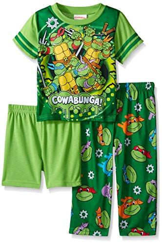 Teenage Mutant Ninja Turtles Little Boys Cowabunga! Dudes 3-Piece Pajama Set Green 4T (Ninja Turtles Pajamas Set compare prices)