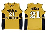 WEENKS Men's Tim Duncan 21 Wake Forest Demon Deacons College Basketball Jersey S Gold
