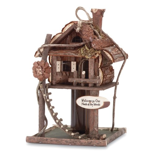 Gifts & Decor Wood Log Cabin Tree Bird House/Feeder