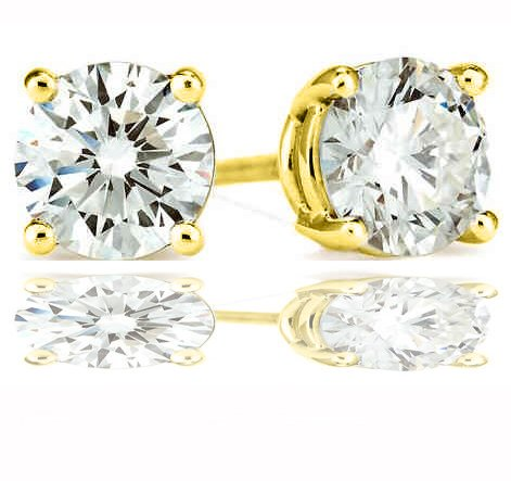 Authentic Stud Earrings Sterling Silver 14-K Gold Plated 2.00 Carats Total Weight Comes in a Gift Box & Special Pouch