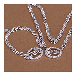 Silver Plated Jewelry Sets Guess Oval Chain Bracelet Necklace